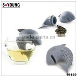 16159 Silicone Shark Infuser Loose Tea Leaf Strainer Herbal Spice Filter Diffuser