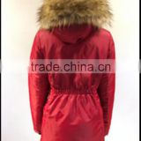 Wholesale Women's Heated Thicken Winter Warm Long Parka with Fur Hood/ Down Feather Jacket Coat
