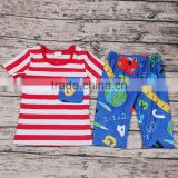 New Design Children Back to School Clothing Short Sleeve T-shirt Shorts Set Boutique Outfit Baby Boys Girls Clothes Store Online