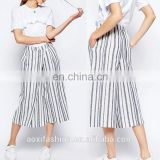 OEM service China manufacturer stripe soft fabric loose cheap cotton pants women's pants