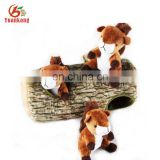 ICTI and SEDEX Wholesale Custom Burrow Dog Toy Chipmunks Squeaky Hide and Seek Puzzle Plush Dog Toys