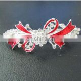 Color enamel diamond metal hair barrette with bow