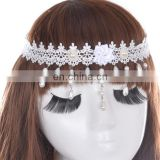 White full fabric lace hair accessories women wedding bride lace head band