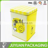 Fancy high quality square cookie coffee perfume biscuit milk tin can packaging oem making