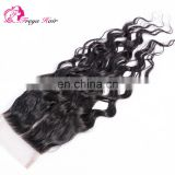 Malaysian hair closure with baby hair water wave 4x4 lace closure remy human hair