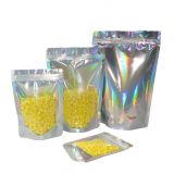 MOQ 500 clear hologram foil stand up zipper pouch bag with ziplock