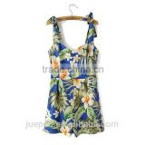 OEM sleeveless summer sexy flower print wide leg women cotton jumpsuite                                                                         Quality Choice