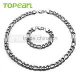 Topearl Jewelry Heavy Stainless Steel 11mm Figaro Chain Necklace Bracelet Set Silver SSJ01