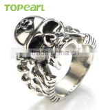 Topearl Jewelry New Punk Biker 13 Skull Ring for Men Stainless Steel Hot sale Skeleton Style Jewelry MER440