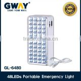 48pcs of 1800-2000MCD LED high power emergency light,transformer charging and sealed lead acid battery,plastic housing
