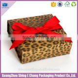 Luxury fancy leopard grain paper printing ribbon gift box packaging/folding box for packaging