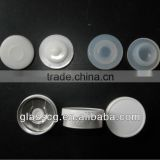 Glass bottle caps flat glossy white cap flip off cap with silicon stopper for sale paypal accept
