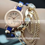 2015 Best selling Korea Blue Slim strap Ladies stone bracelet watch