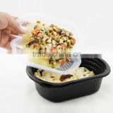 Black Microwaveable Leakproof Disposable Fast Food Container Box with with Divider Lid