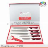 High-quality 5pcs Royalty Style RED handle stainless steel kitchen knife set in magnetic EVA gift box                                                                         Quality Choice