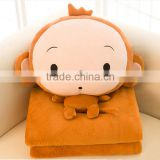 Plush Fleece Animal Monkey Shaped Toy Blanket Cushion Pillow