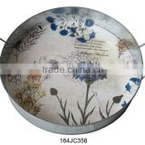 JaneCollection High quality Classic round metal tray with beautiful flower for home decors, food and serving with the best price