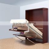 Space saving wooden murphy bed verticle hidden wall bed double murphy folding bed with bookcase and desk                                                                         Quality Choice