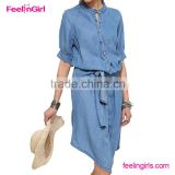 Drop ship long sleeve ladies womens denim dress                                                                         Quality Choice