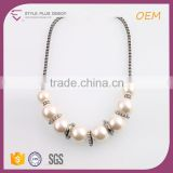 N74388H01STYLE PLUS simple beads design pearl necklace bib necklace hot sale American style