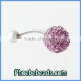Wholesale Body Navel Belly Jewelry Piercing Button Rings Glittering Lavender Crystal Bead Stainless Steel Bar BBR-A006