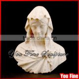 Hand Carved Marble Female Head Bust Statue