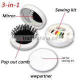 3-in-1 Mini Travel Kit with compact mirror, sewing kit, and pop out comb                                                                         Quality Choice