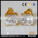 New Style Fashion Jewelry Gold plated Clear CZ Square Stud Earrings