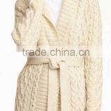 New 2016 newest stylish heavy gauge cable white cardigan coat with belt (cotton /acrylic) machineknitted sweater with belt