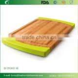 TFGJ015/Promotional goods non slip bamboo cutting board with silicone sides wooden chopping block with yellow non silp silicone
