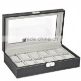 Watch Box Large 12 Mens Black Leather Display Glass Top jewelry gift boxes Case Organizer