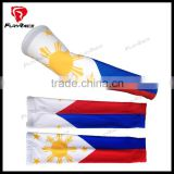 2016 OEM Sublimation Printing Philippine National Flag Compression Arm Sleeves UV Protection