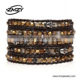 Fashion Jewelry Bracelet Mens Natural Stone Bracelet With skull Head Leather Wrap Bracelet Wholesale