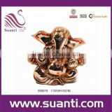 Indian god rose gold ganesh murti resin statue