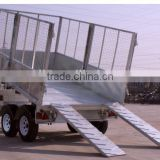 fully hot deep galvanized 1 ton tipping trailer ,dump wagon, tandem axles with battary oil tank and wire mesh fence