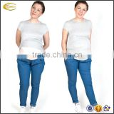 Ecoach wholesale casual Super soft Pregnancy Maternity pants Capris Over-the-bump jersey Blue Maternity Trousers