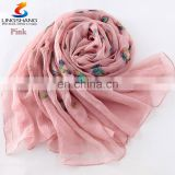 Fashion Embroidered Shawls Flower Muslim Hijab Scarf Female Artesanato Embroidery Wrap
