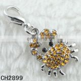Cheap Elegant Design Metal Yellow Crystal Alloy Crab Pendant Charms