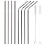 Free Shipping ECO Stainless Steel Straws Wholesale (4 bend + 4 straight + 2 brush + 8 silicone cover)