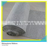 5 Yards 50 Rows Silver Plastic Rhinestone Mesh Roll Wedding Crystal Rhinestone Mesh Ribbon