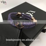2016 Wholesale Luxury Stingray/ Python Leather Crystal Bracelet With Rose Gold Clasps Black Diamond