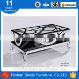 Factory whosale modern F11 rectangular glass coffee table aluminum alloy metal tea table