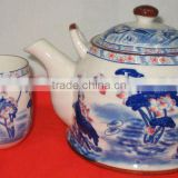 Factory outlet wholesale ceramic tea set with 1 tea pot and 6 tea cup blue lotus