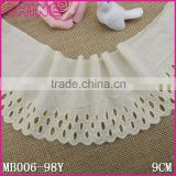 "In Stock Factory Sale Cheap 3.67"" Bleach Creamy White 100% Embroideried 9cm Cotton Guipure Lace Fabric"