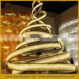 Modern Spiral Shape High Quality Iron 3000K Crystal Pendant Chandelier for Hotel Decoration