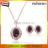 New Arrival Fashion Purple Hollow Pattern Austrian Crystal Earrings Necklace Bridal jewelry set