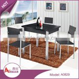 Factory price space saving 4 person imported black square modern dining table and chair set