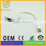 Manufactory price male to female c type usb to VGA converter cable for mobile phone accesories