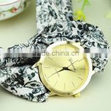 2015 new design women ribbon wristband fashion floral GENEVA brand ladies quartz wrist watch
