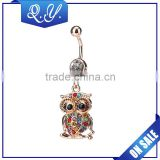 NB0204 Lady fashion Owl shaped crystal paved navel belly ring gold plated in stainless steel jewelry